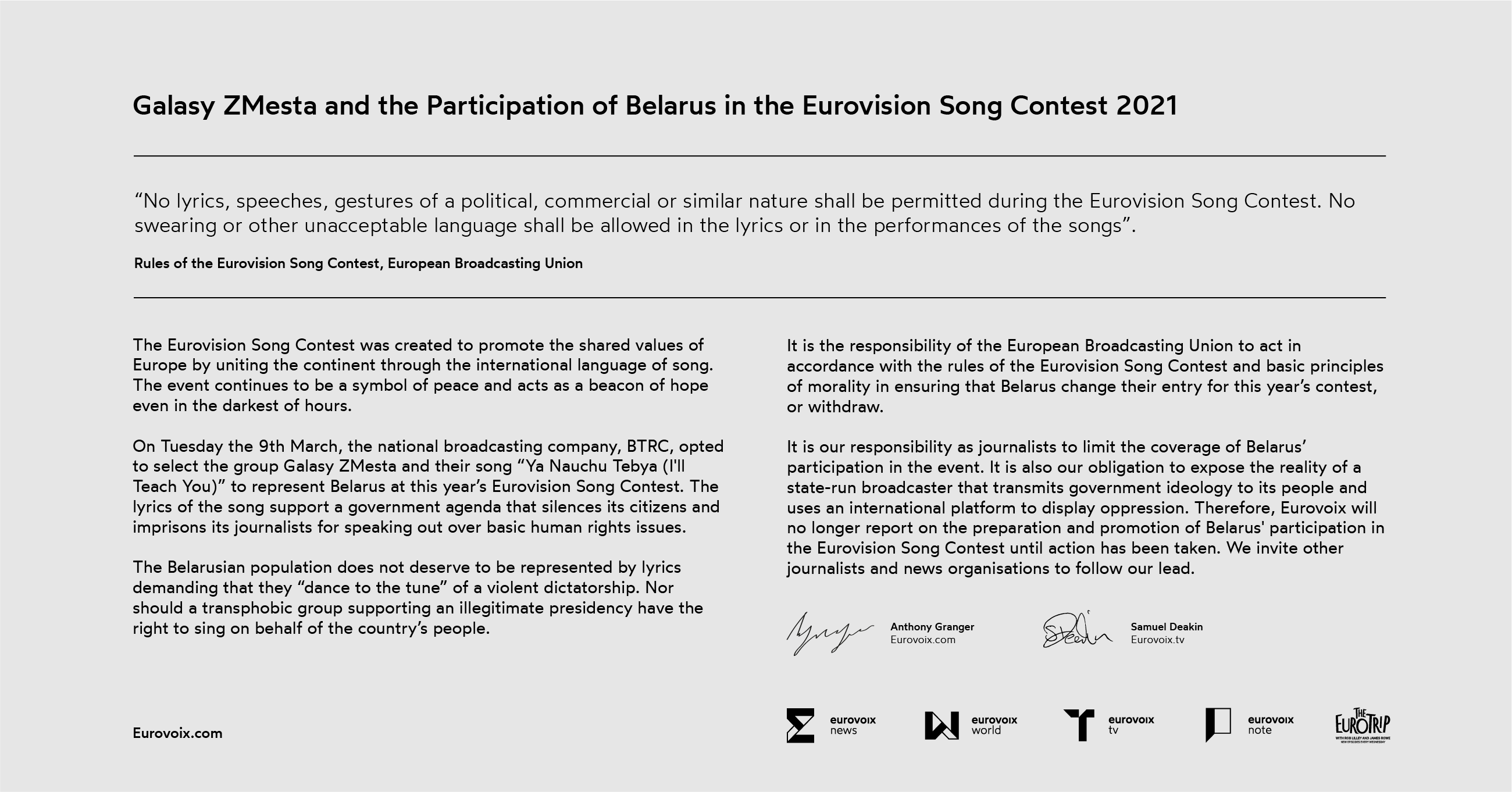 Belarus at the Eurovision Song Contest 2021: A Statement from Eurovoix.com